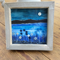 "Framed Button Art Picture. Tranquil sea view.  7"" by 7"""
