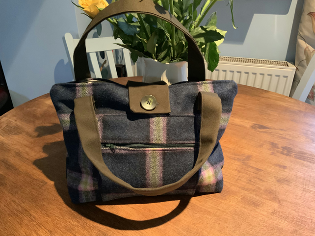 "Handbag. Blue and Green Wool Check Handbag. Fully Lined. 14"" by 10""."