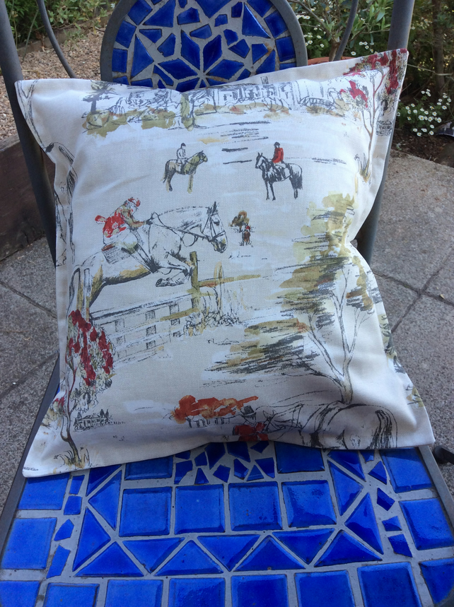 "Equestrian. Horse cushion cover. Burghley fabric for 18"" infill."