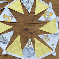 Bunting. Winnie The Pooh and Friends and lemon dotty fabric flags. 12 Flags.