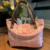 "Handbag. Pink Wool Check. Fully lined. Two inner Pockets. 14"" by 10"""