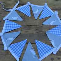 Sophie Allport Runner Ducks with alternate blue white fabric bunting. 12 Flags