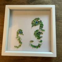 Sea Glass Sea Horse and Baby Picture. Beautiful piece of Coastal Art. Framed.