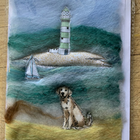 Dogs on the beach cards. Felted beach scene with appliqué dogs.