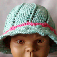 Crochet Cotton Baby Spring or Summer Panama Hat