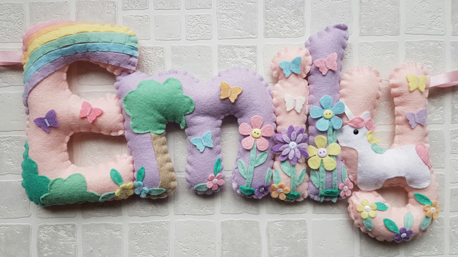 Unicorn felt name banner. Padded letters. Unicorn and rainbow theme. Door sign