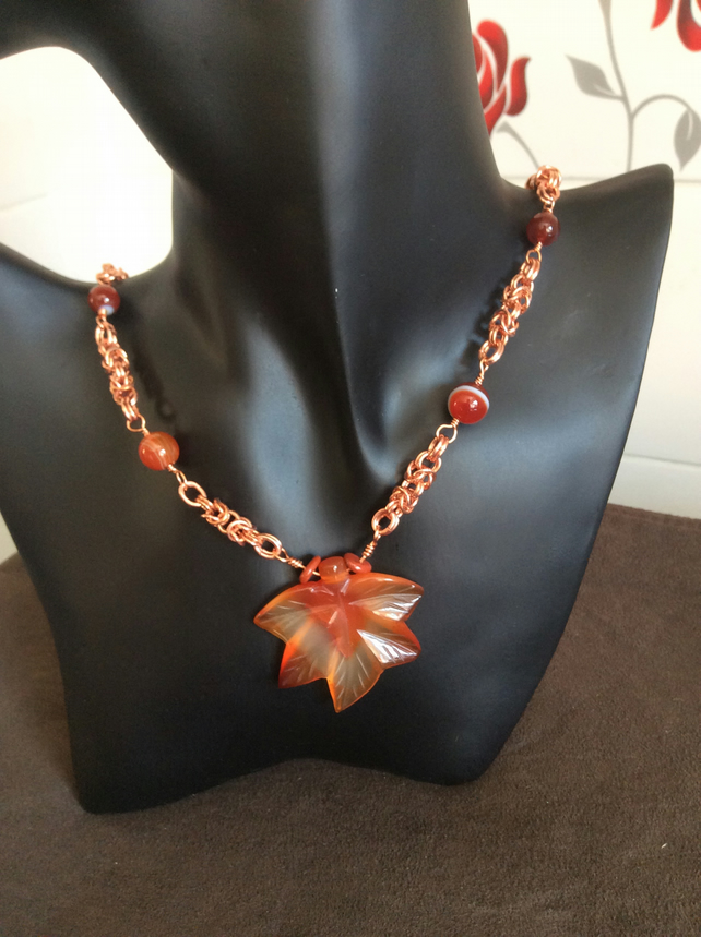 Handcrafted Red Agate Carved Leaf Pendant with a Byzantine Chain.