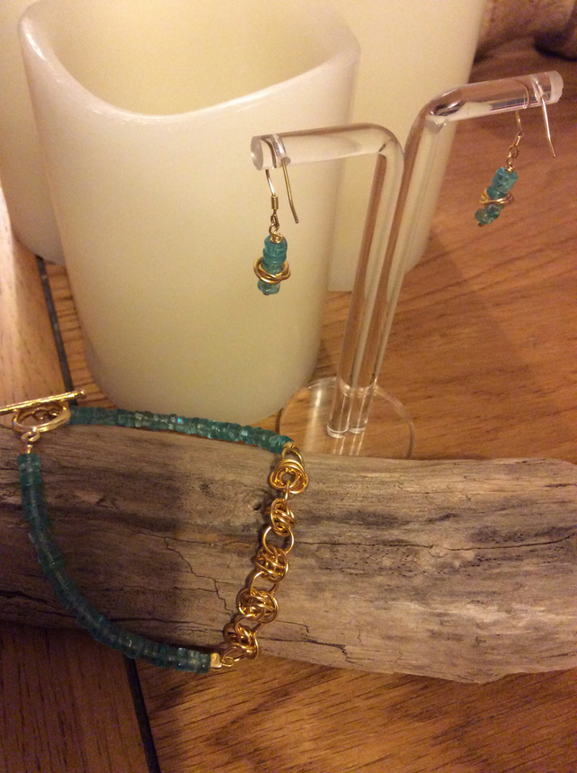 Handcrafted Apatite and Barrel Weave Gold Plated Sterling Silver Set.