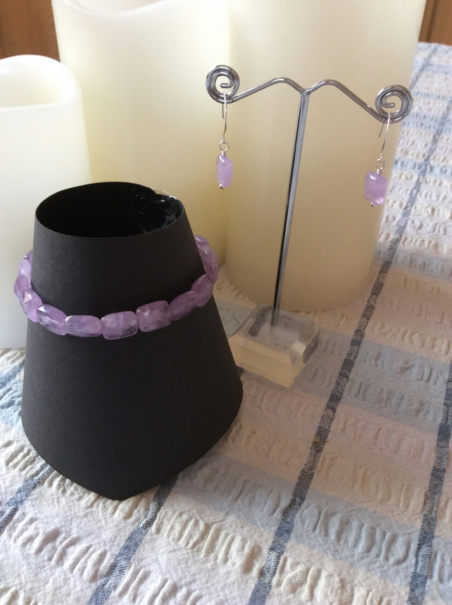 Hand crafted Lavender Amethyst Sterling Silver Bracelet and Earrings.