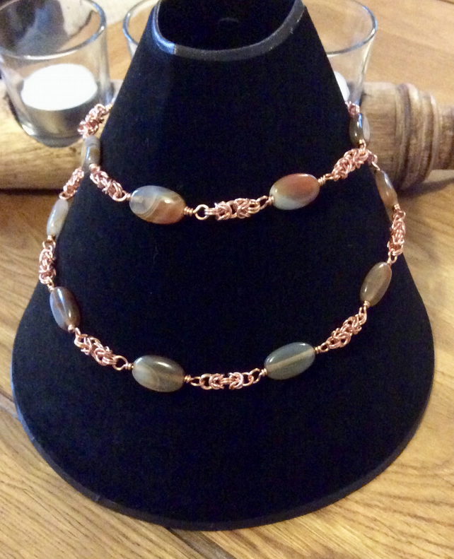 Handcrafted Botswana Agate and Chainmaille Necklace.