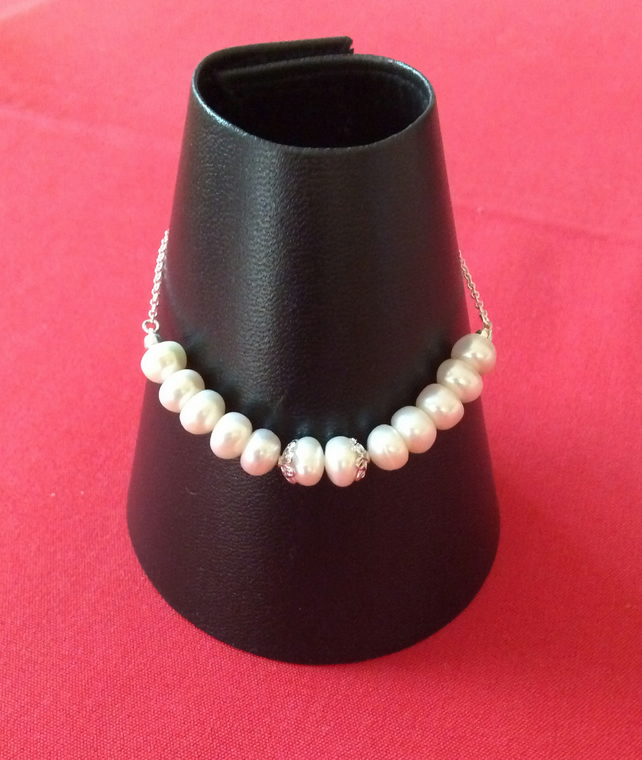 Handcrafted Sterling Silver and Pearl Adjustable Bracelet.