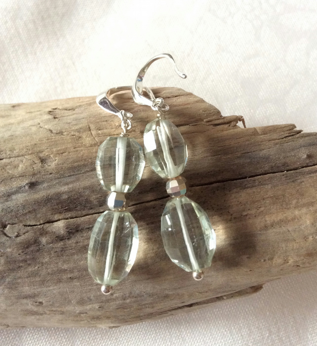 Handcrafted Sterling Silver and Green Amethyst Earrings
