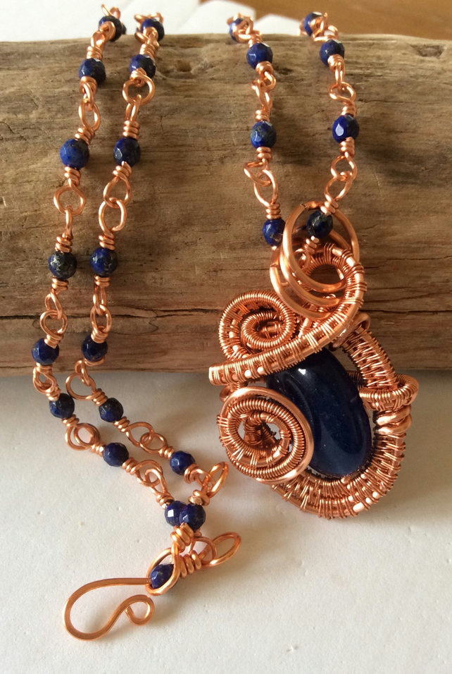 Handcrafted Copper Wire, Lapis Lazuli and Mystery Blue stone Pendant