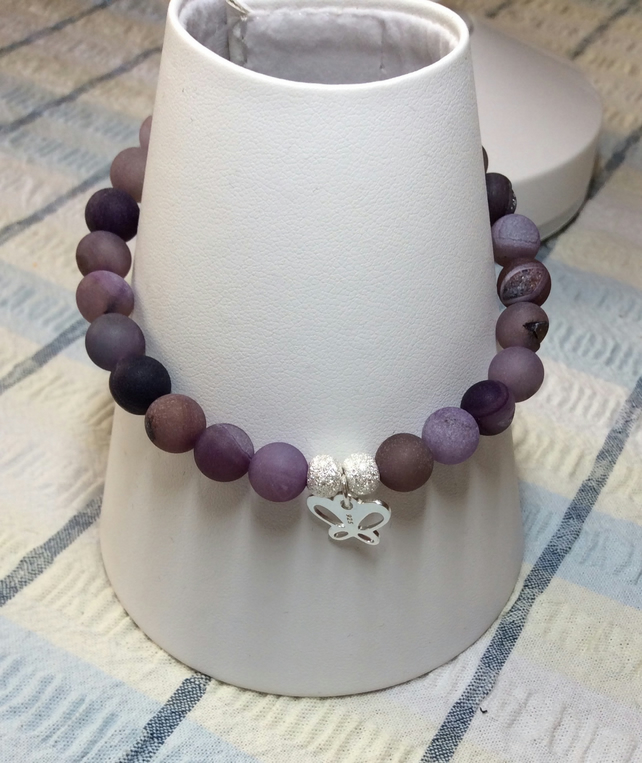 Handcrafted Purple Druzy and Sterling Silver Bracelet