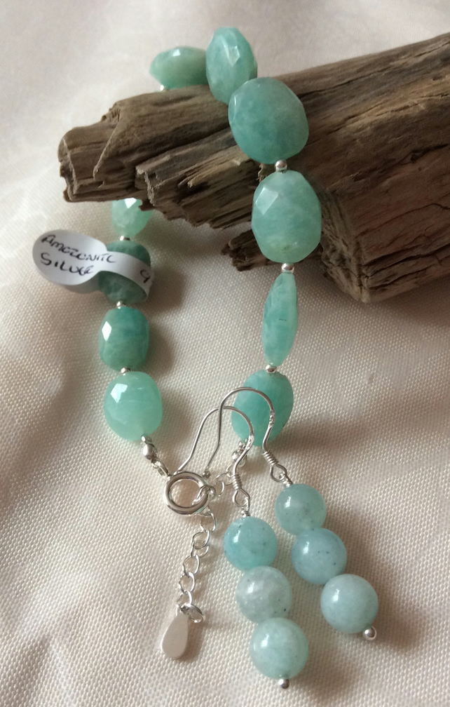 Handcrafted Amazonite Sterling Silver Bracelet and Earrings.