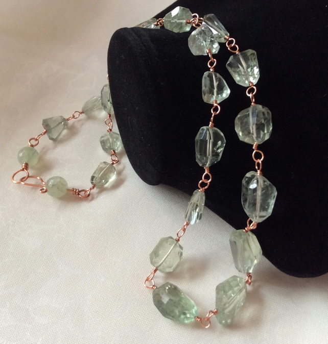 Handcrafted Green Amethyst and Copper Necklace
