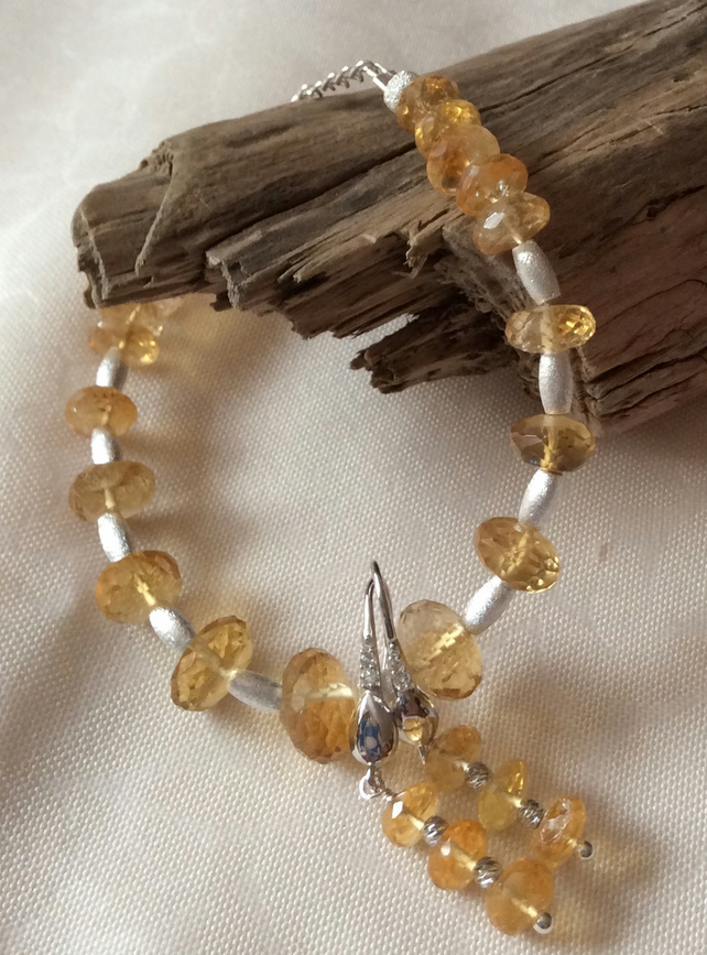 Handcrafted Sterling Silver and Citrine Bracelet set.