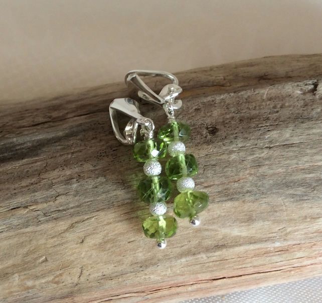 Handcrafted Sterling Silver and Peridot Clip On Earrings.