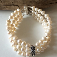 Handcrafted Vintage Three Strand Pearl and Sterling Silver Bracelet.