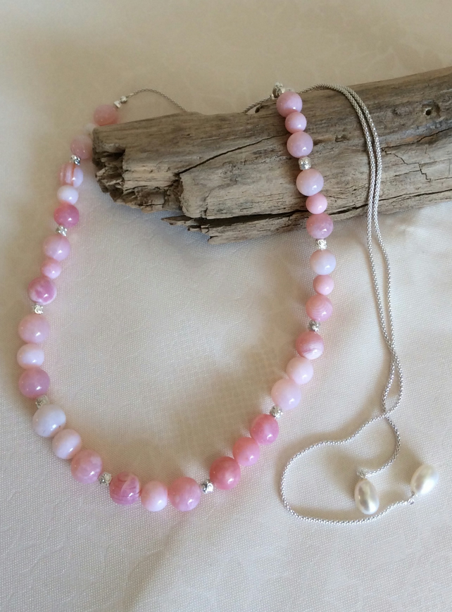 Handcrafted Peruvian Pink Opal and Sterling Silver Adjustable Necklace.