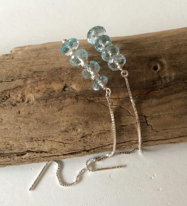 Handcrafted Sterling Silver and Sky Blue Topaz Earrings.