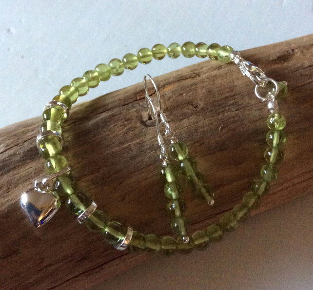 Handcrafted Peridot and sterling silver Bracelet and Earrings.