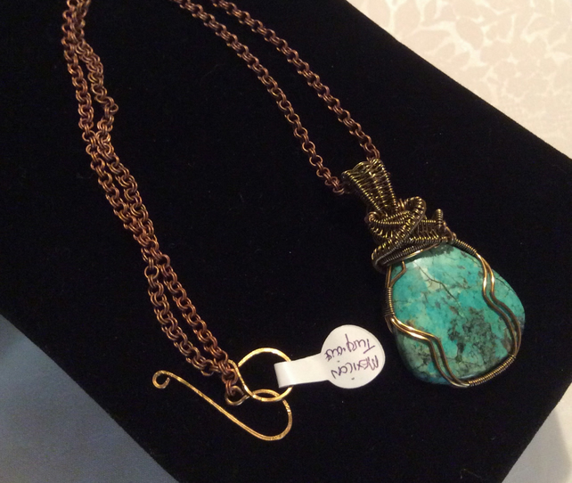 Handcrafted Tibetan Turquoise wire wrapped pendant