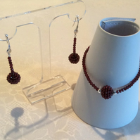 Handcrafted Garnet and Sterling Silver Bracelet and Earring Set