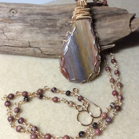 Handcrafted American Jasper Pendant and Rhodonite Chain