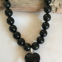 Handcrafted Golden Obsidian and Agate Necklace.