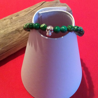 Handcrafted Green Terra Jasper and Sterling Silver Bracelet