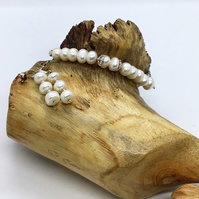 Handcrafted Sterling Silver and Pearl Adjustable Bracelet & Earrings
