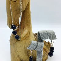 Handcrafted Sterling Silver and Blue Sapphire Bracelet & Earrings