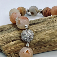 Handcrafted Natural Frosted Quartz Magnetic Necklace