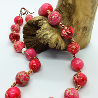 Handcrafted Pink Terra Jasper and Copper Necklace