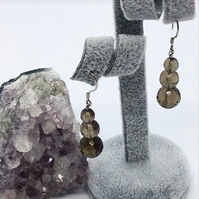 Handcrafted Sterling Silver and Smokey Quartz Earrings.