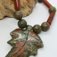 Handcrafted Carnelian and Ukinite Necklace