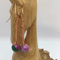 Handcrafted Multi Colour Agate & Copper Earrings