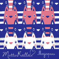 Kitty blue and coral pink organic jersey fabric by Majapuu Designs (half metre)