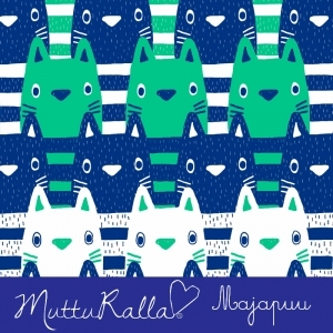 Kitty blue and mint green organic jersey fabric by Majapuu Designs (half metre)