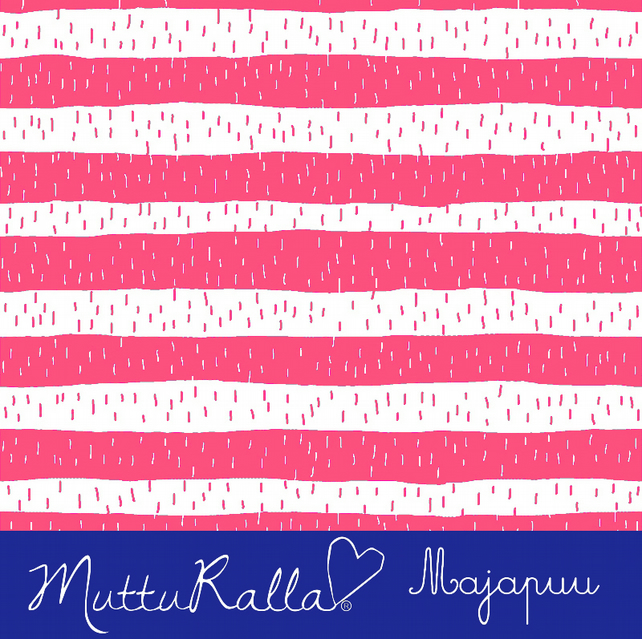 SALE - Coral stripe organic sweatshirting by Majapuu Designs (half metre)