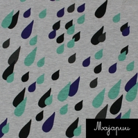 SALE - Blue & mint drops jersey fabric by Majapuu Designs (half metre)
