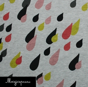 SALE - Coral pink drops jersey fabric by Majapuu Designs (half metre)