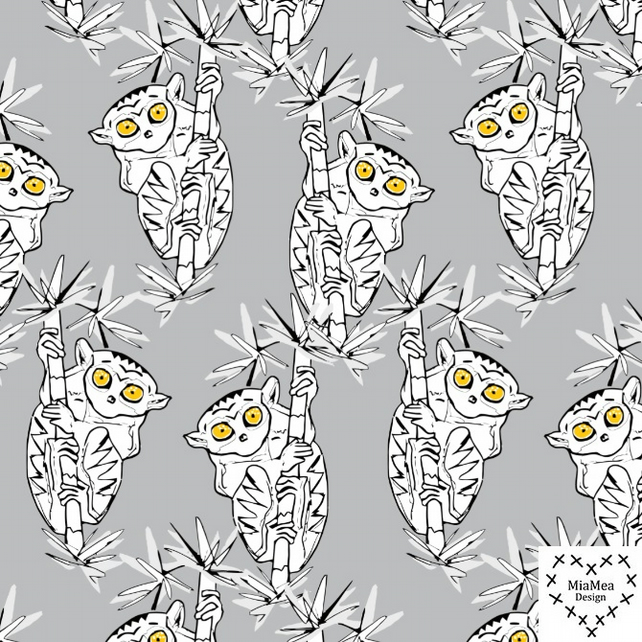 SALE - Grey Tarsiers organic jersey fabric by MiaMea Design (half metre)