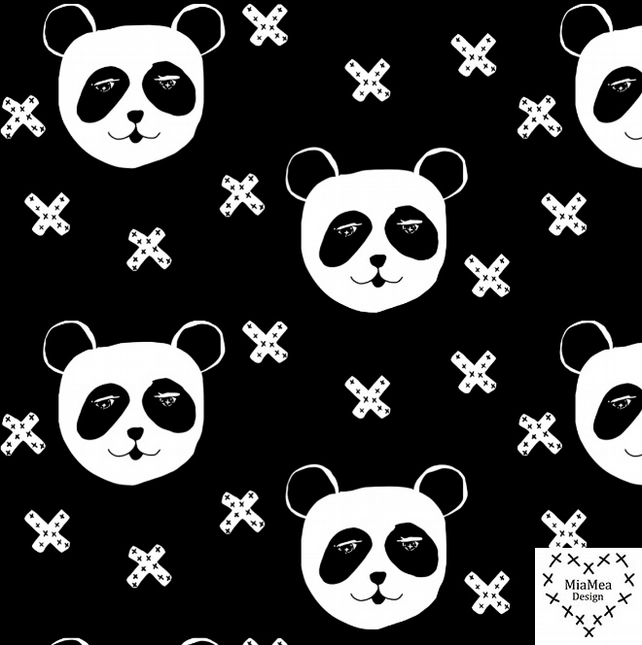 ON SALE - Pandas on black organic jersey fabric by MiaMea Design (half metre)