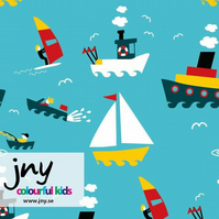 70cm piece - Boats organic jersey fabric by JNY Colourful Kids