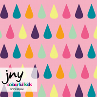 SALE - Last 1m piece - Pink Drops organic jersey fabric by JNY Colourful Kids