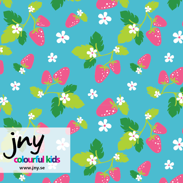 Turquoise Strawberry organic jersey fabric by JNY Colourful Kids (half metre)