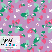 SALE -Purple Strawberry organic jersey fabric by JNY (half metre)