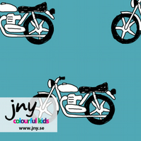 Motorcycle organic jersey fabric by JNY Colourful Kids (half metre)
